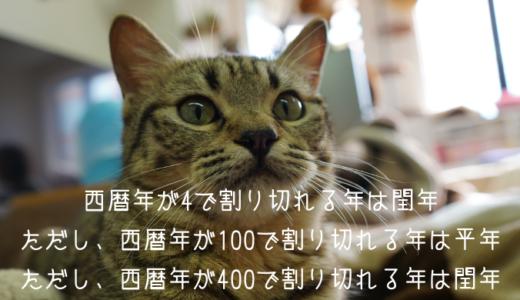 うるう年判定&月末日取得【C言語】